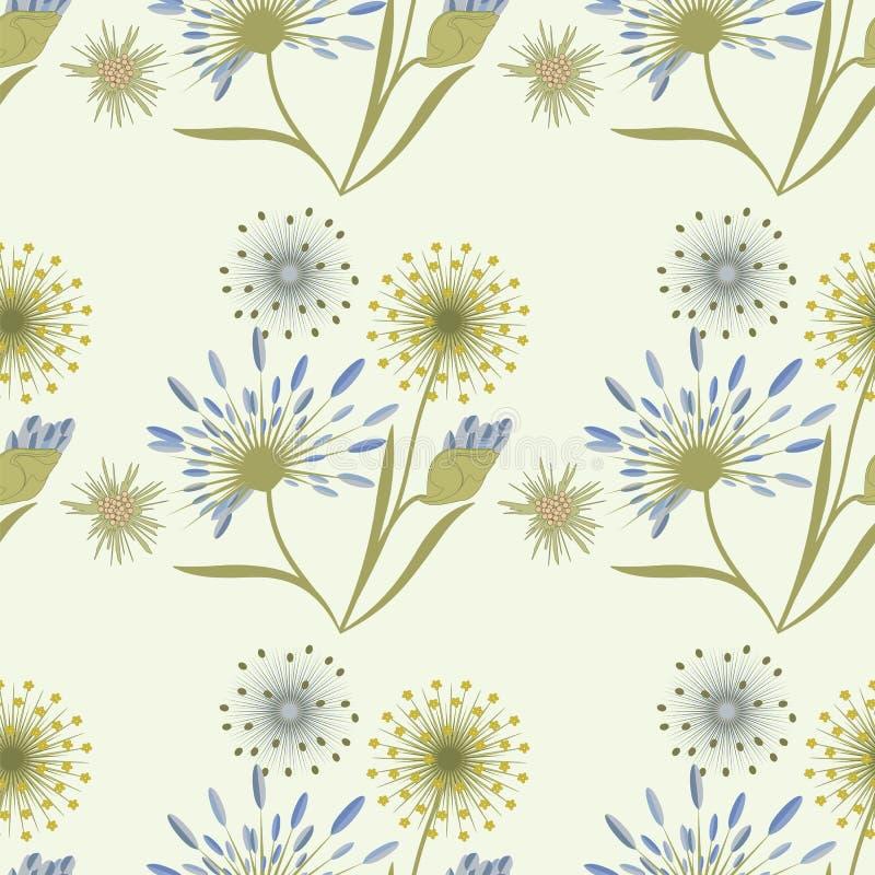 仿造在创造性轻的背景的艺术的野花柔和的米黄蓝色 库存例证