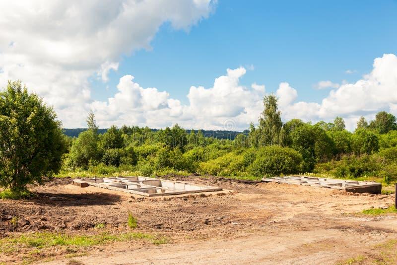 建造场所和房子基础看法  库存图片