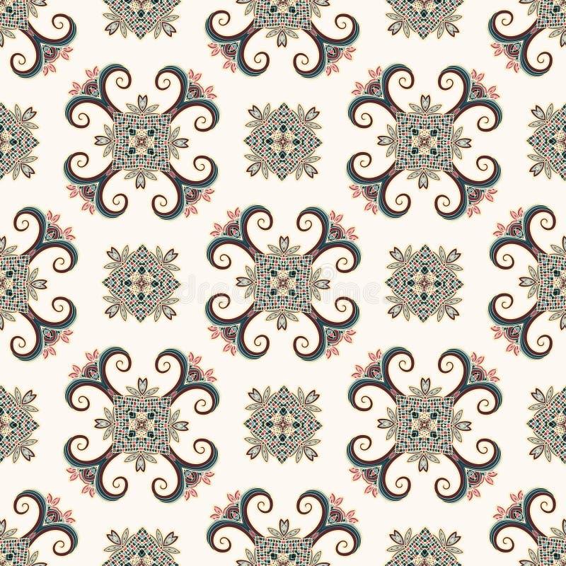 仿造无缝的葡萄酒 种族装饰品 Boho样式 减速火箭的装饰元素 反复性的背景 抽象花卉植物 或者 向量例证