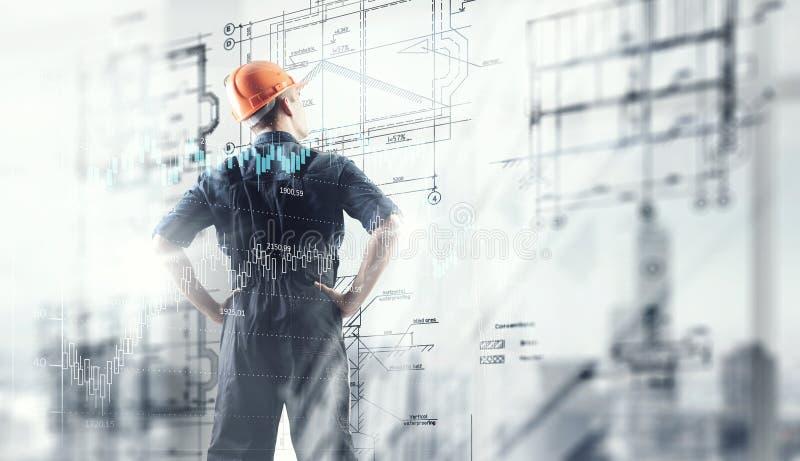 建造者人和媒介接口 免版税库存照片