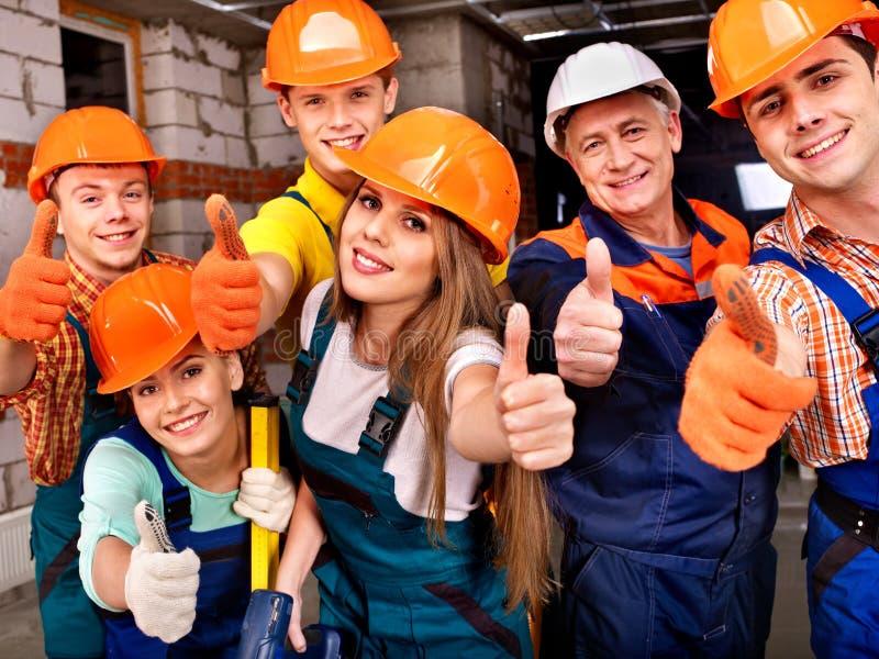 建造者制服的小组人。 免版税图库摄影