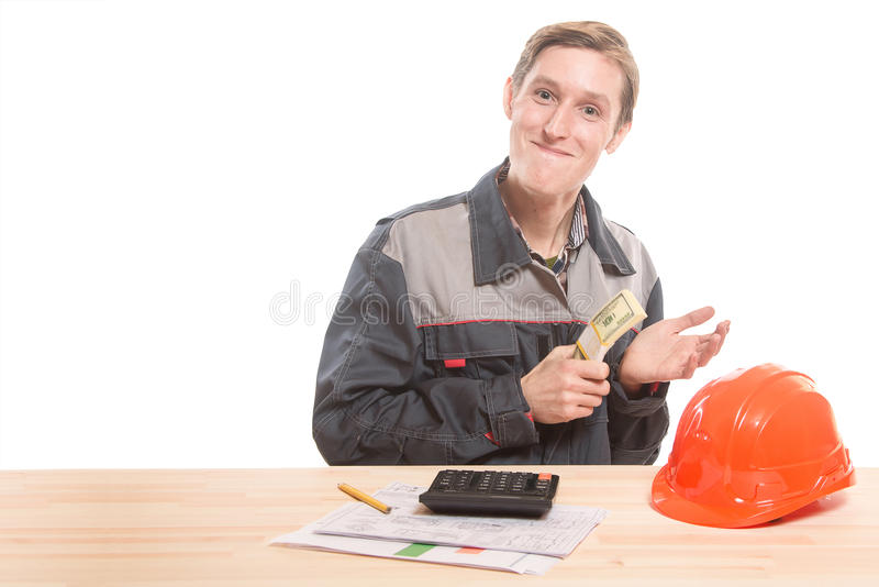 建造者在桌上 免版税库存照片