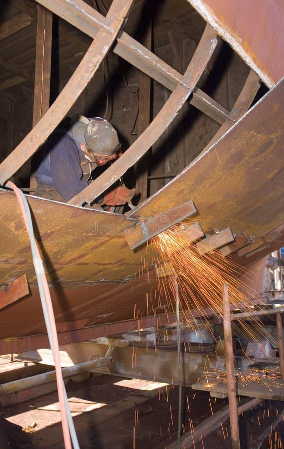 造船厂焊工 免版税图库摄影