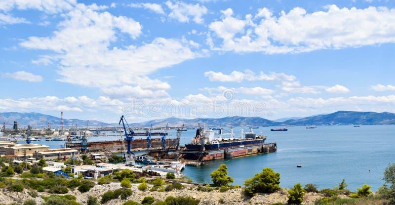 造船在Diodia,希腊 库存照片