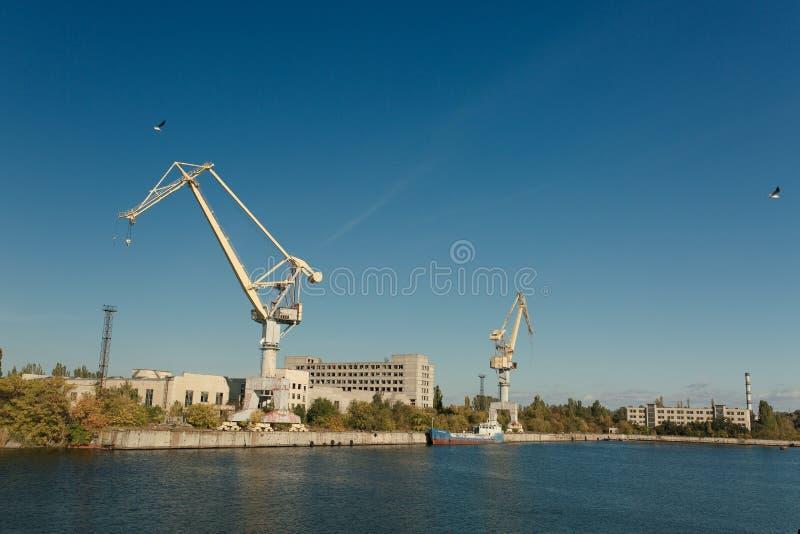 造船植物在市Nikolaev,乌克兰,最大 库存图片