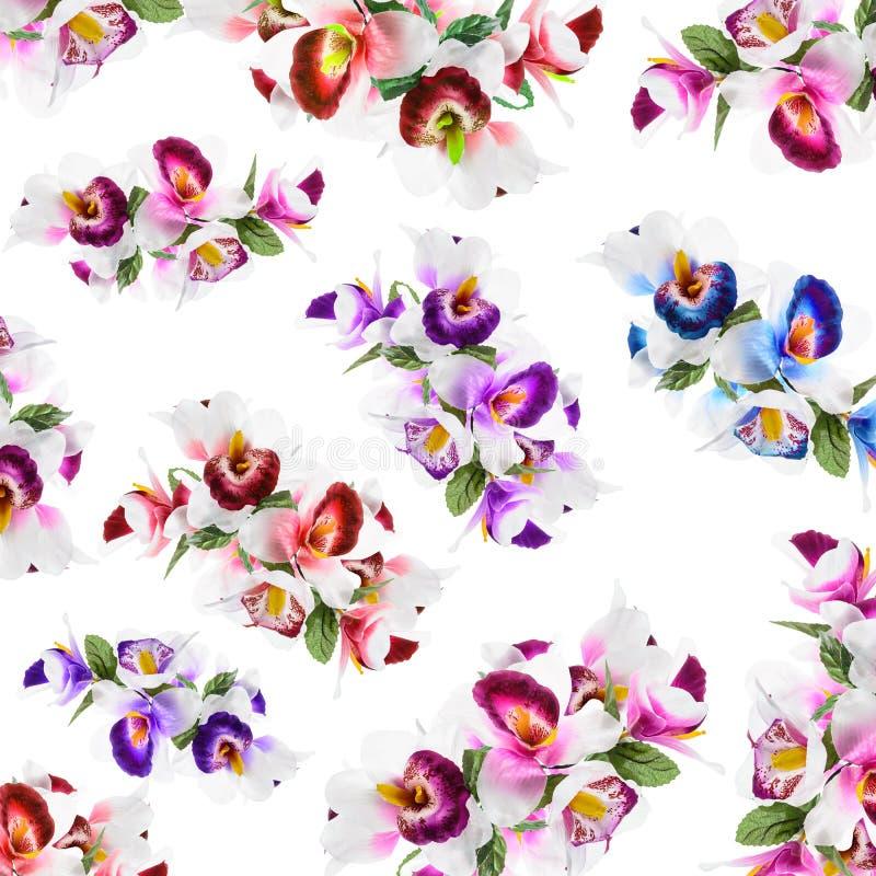 仿造花,兰花在f做的软的颜色的花印刷品 皇族释放例证