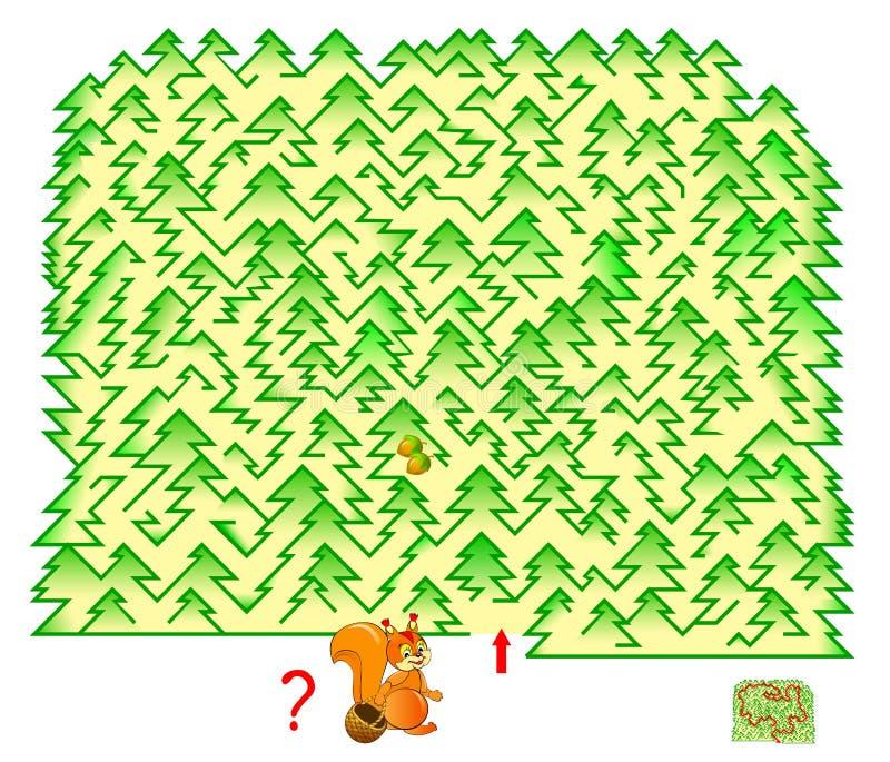 逻辑与迷宫的难题比赛孩子和成人的 在森林里帮助灰鼠会集坚果发现方式并且画线 皇族释放例证