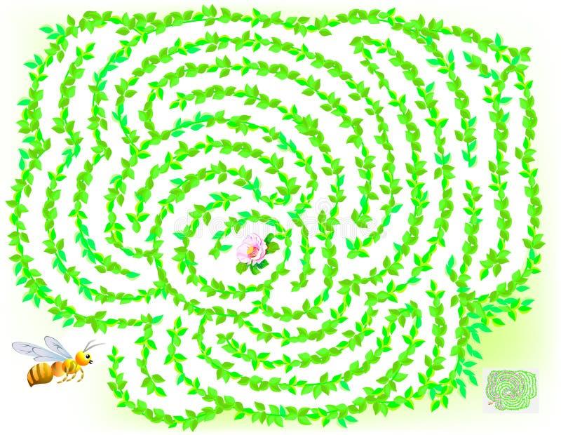 逻辑与迷宫的难题比赛孩子和成人的 帮助蜂发现直到花的方式 皇族释放例证