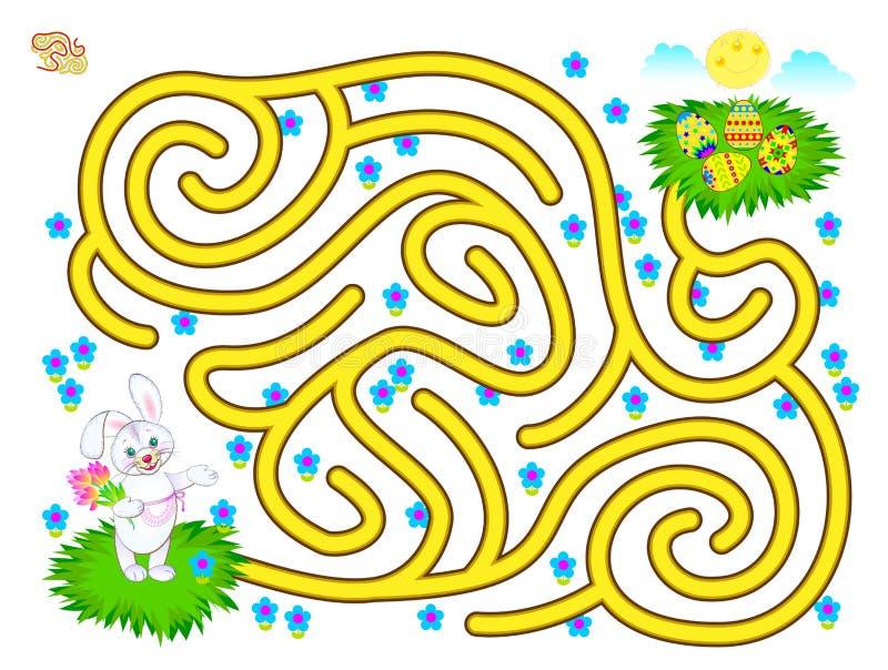 逻辑与迷宫的难题比赛孩子的 帮助兔子发现直到复活节彩蛋的方式 可印的活页练习题 库存例证