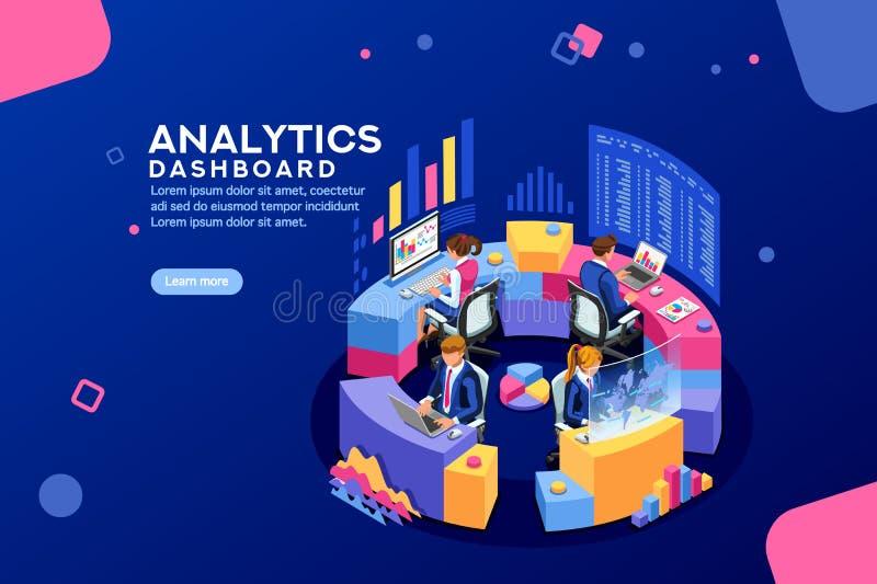 逻辑分析方法仪表板分析家仪表板财政横幅 向量例证