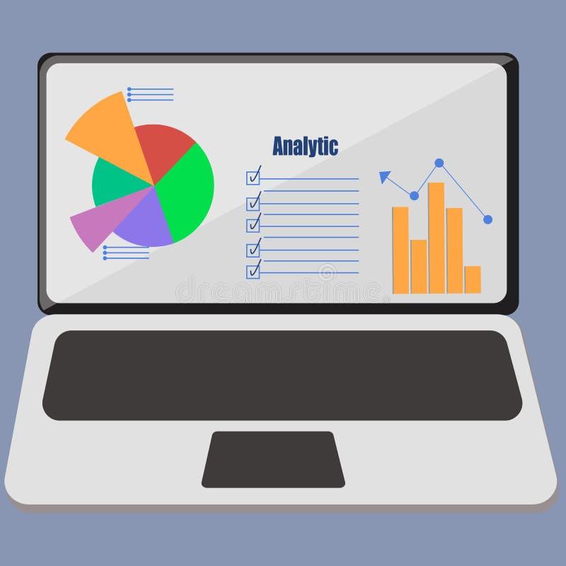 逻辑分析方法infographic在膝上型计算机 库存例证