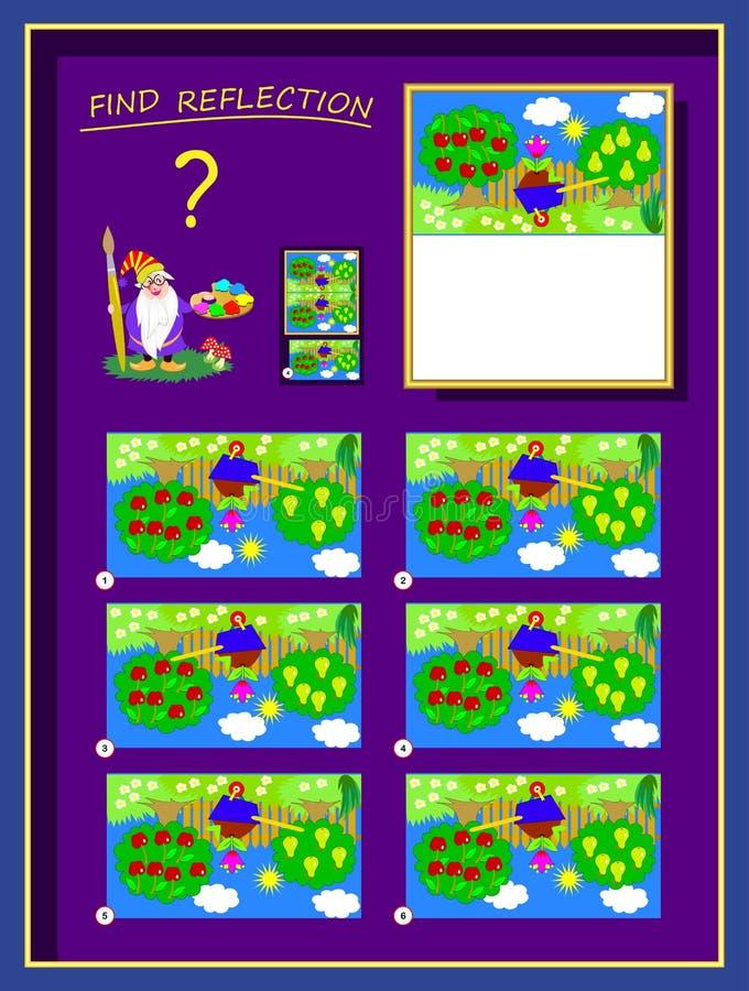 逻辑最聪明的帮助的难题比赛艺术家完成图片,发现正确反射和画它 库存例证