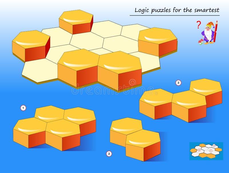 逻辑最聪明的需要的难题比赛能发现正确地方在其中每一个的蜂窝几何图 向量例证