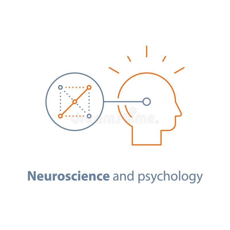 逻辑比赛、神经学和心理学,政策制定,重要心态,解决谜语,记忆精神连接,脑子训练 向量例证