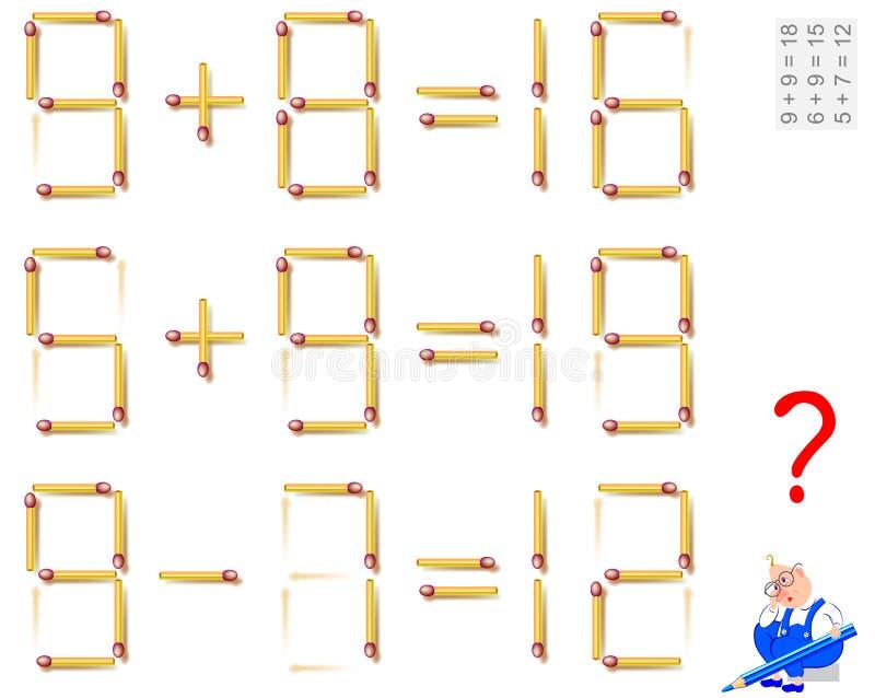 逻辑难题比赛 在使等式正确的每任务移动1火柴梗 库存例证