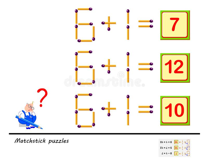 逻辑难题比赛 在每项任务您必须移动1火柴梗使等式正确 难题书的可印的页 皇族释放例证