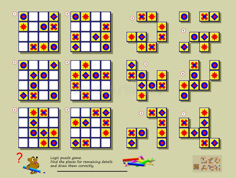 逻辑难题比赛 需要发现其中每一个的正确地方几何图完成空的地方 向量例证