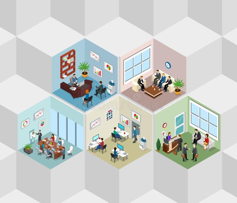 遇见招待会平的等量传染媒介3d的办公室内部细胞 库存例证