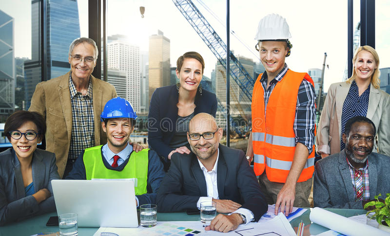 遇见建筑师工程师建筑概念的商人 图库摄影