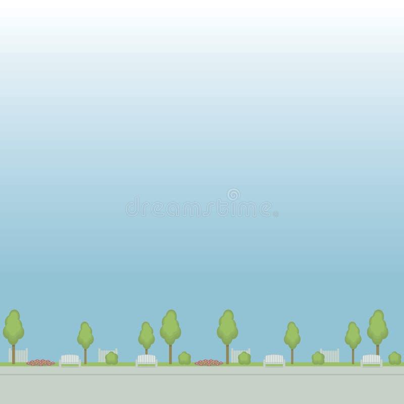 遏制公园街道的无缝的传染媒介样式绘了花圃篱芭花圃的树在蓝色背景的 皇族释放例证