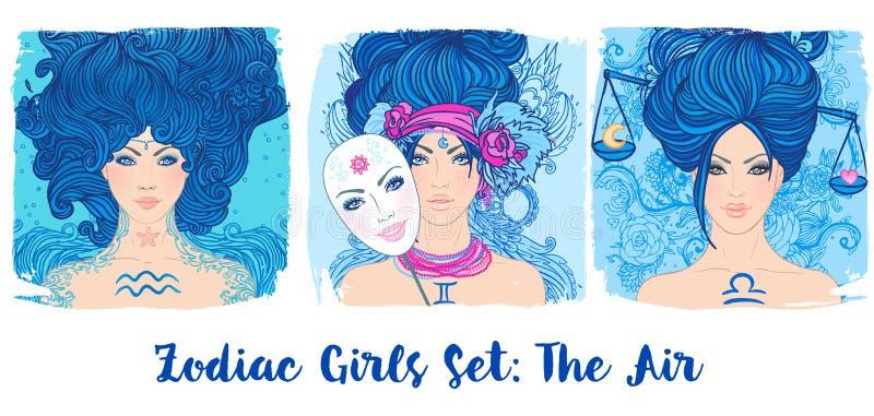 黄道带女孩被设置:空气 宝瓶星座,双子星座的传染媒介例证, 库存例证