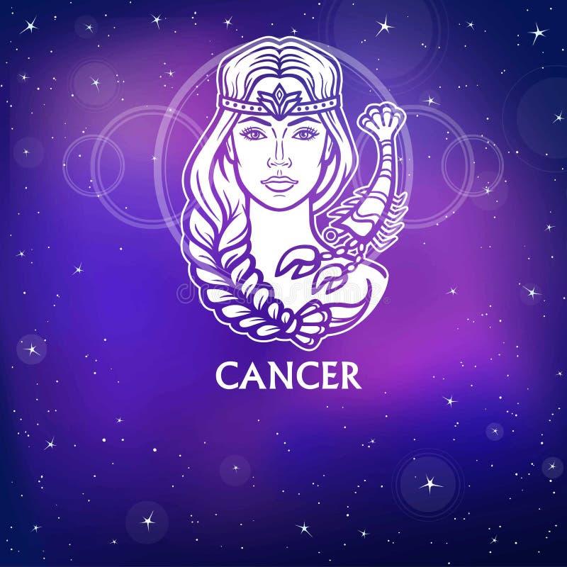 黄道带标志巨蟹星座 意想不到的公主,动画画象 白色图画,背景-夜星天空 库存例证