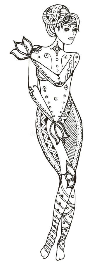 黄道带标志-处女座 赤裸妇女覆盖物用手 Vec 库存例证