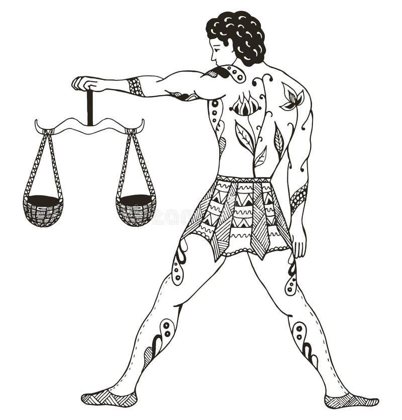 黄道带标志-天秤座 年轻人藏品标度 向量Illustratio 向量例证