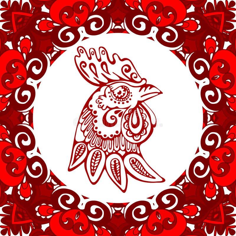 黄道带标志年雄鸡汉语 库存例证