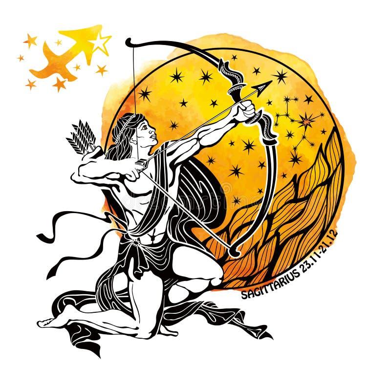 黄道带符号人马座 占星圈子 向量例证