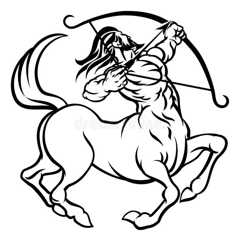 黄道带签署人马座名骑手 皇族释放例证