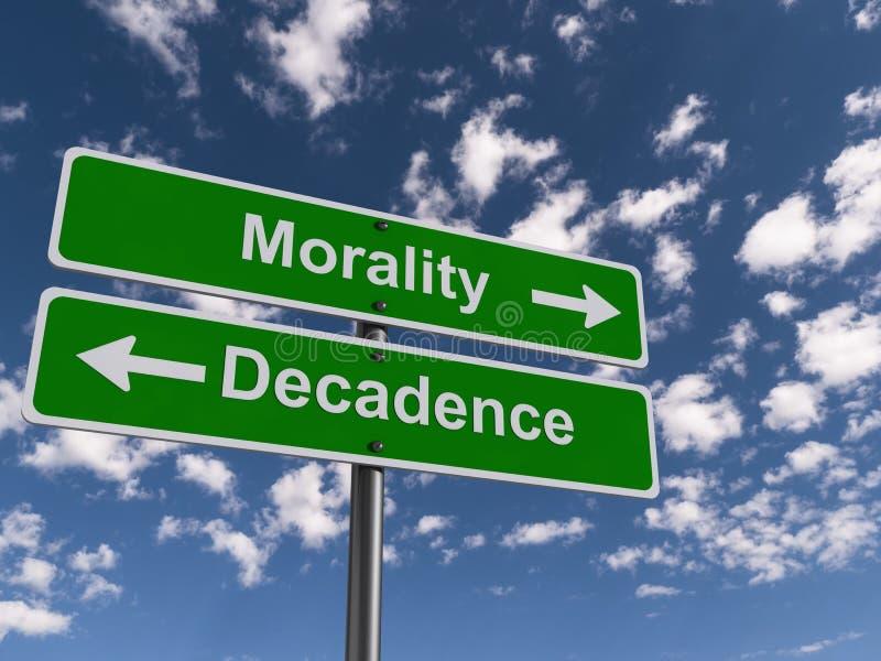道德和衰落roadsigns 库存例证