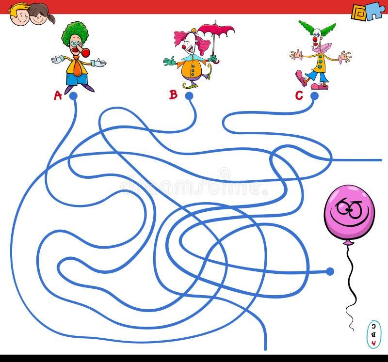 道路与小丑和气球的迷宫比赛 向量例证