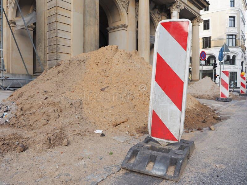 道路工程在市中心 库存照片
