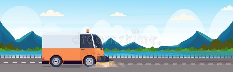 道路清扫工卡车机器清洗的过程工业车柏油路服务概念河山环境美化 向量例证