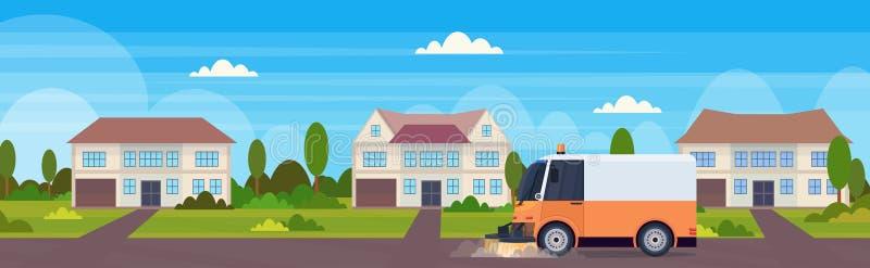 道路清扫工卡车机器清洗的过程工业车都市路服务概念现代连栋房屋大厦 库存例证