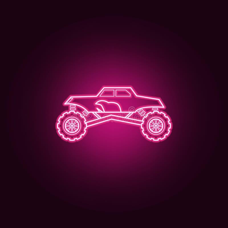 道路赛车汽车霓虹象 巨足兽汽车集合的元素 r 皇族释放例证
