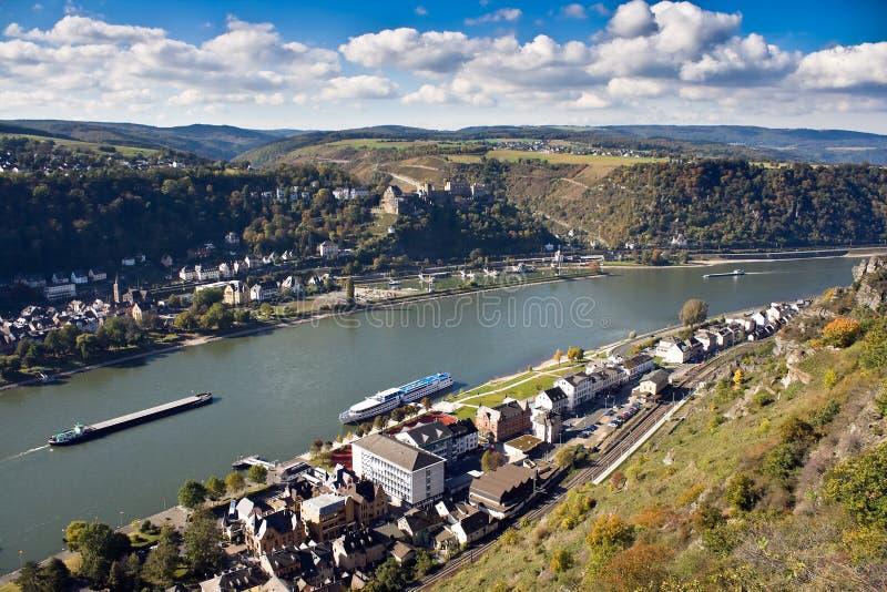 遗产中间莱茵河站点上面的谷世界 图库摄影