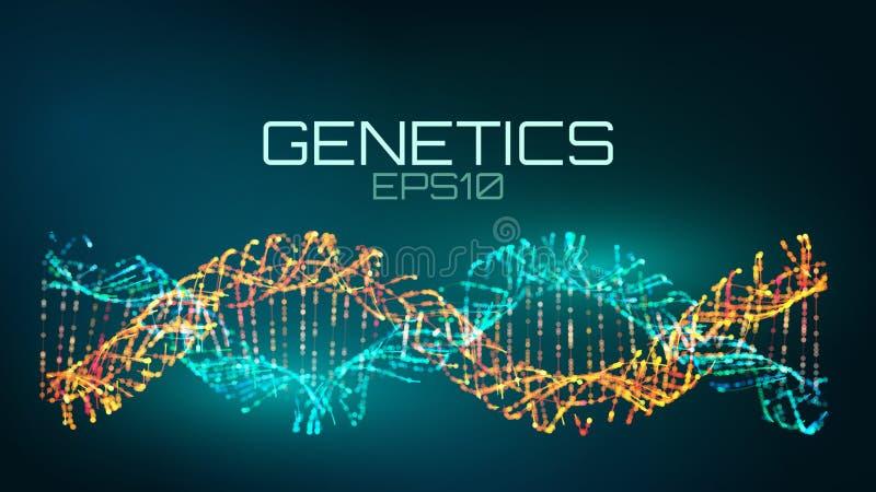 遗传学未来派技术 基因上修改过的生物技术螺旋 向量例证