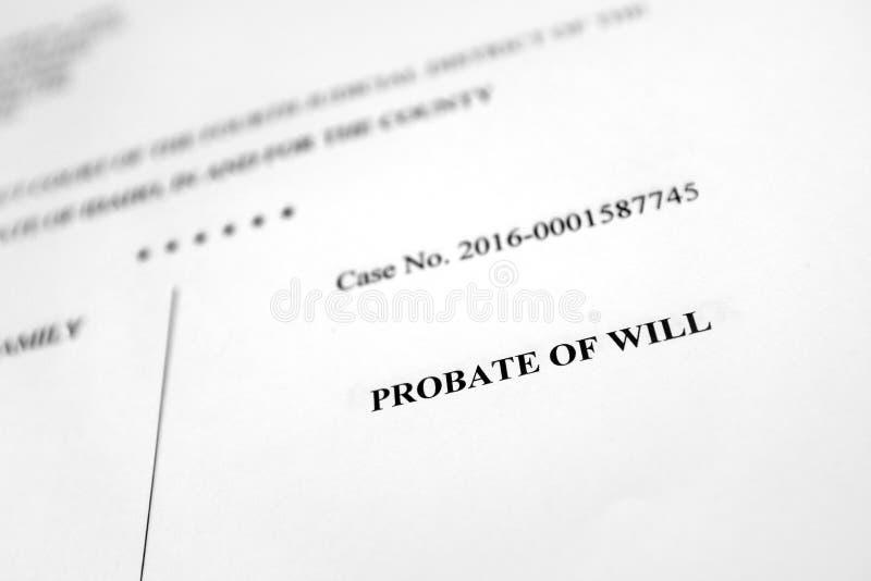 遗嘱的认证屑子法院文件财产分配 库存照片