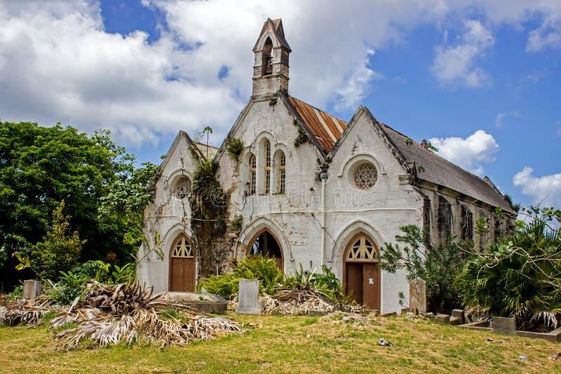 遗弃圣约瑟夫教区教堂的废墟在巴巴多斯 免版税库存照片