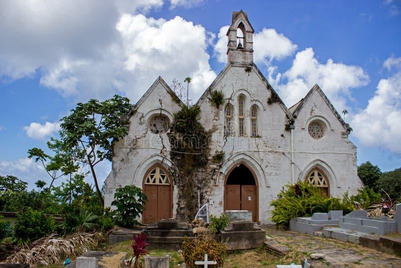 遗弃圣约瑟夫教区教堂的废墟在巴巴多斯 库存图片