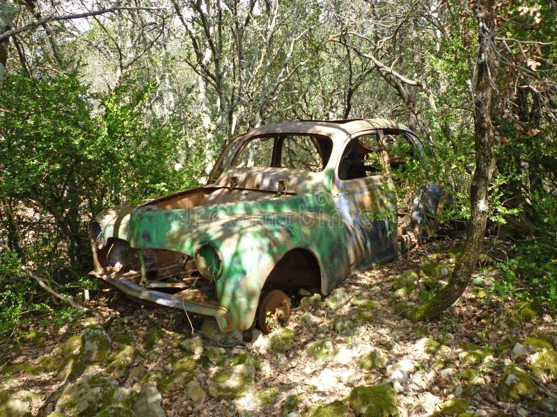 遗弃汽车在森林里 免版税库存图片