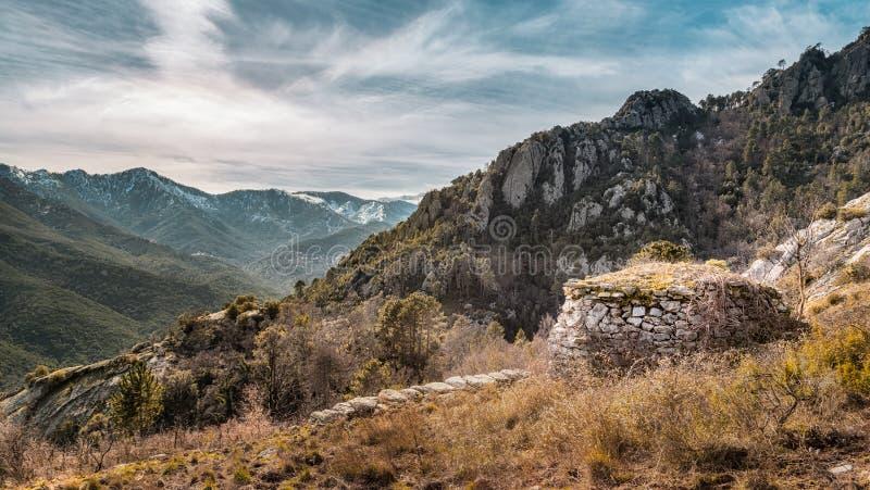 遗弃石buiding在Venaco附近的山在可西嘉岛 库存图片