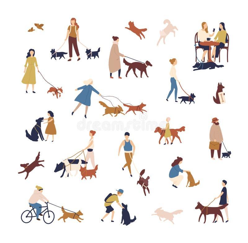 遛他们的在街道上的微小的人民人群狗 小组男人和妇女有宠物或家畜执行的 库存例证