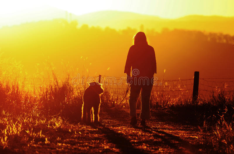 遛的妇女享受时间&和平她的最好的朋友狗 免版税库存照片