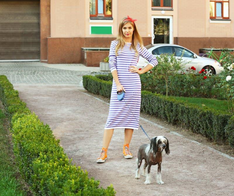 遛美丽的少妇她的狗 库存图片
