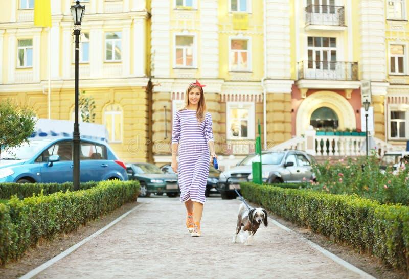 遛美丽的少妇她的狗 免版税库存照片