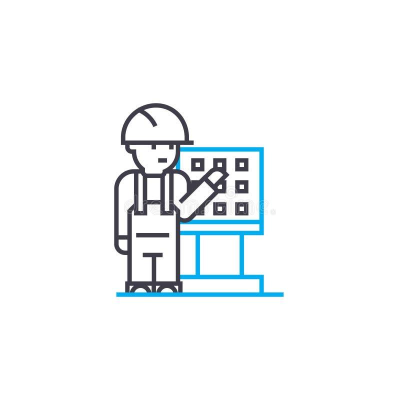 遥控工作者传染媒介稀薄的线冲程象 遥控工作者概述例证,线性标志,标志 库存例证