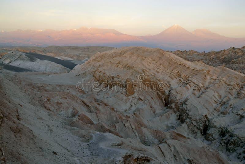 遥控,瓦尔de la月/月球贫瘠火山的风景,在阿塔卡马沙漠,智利 免版税库存照片